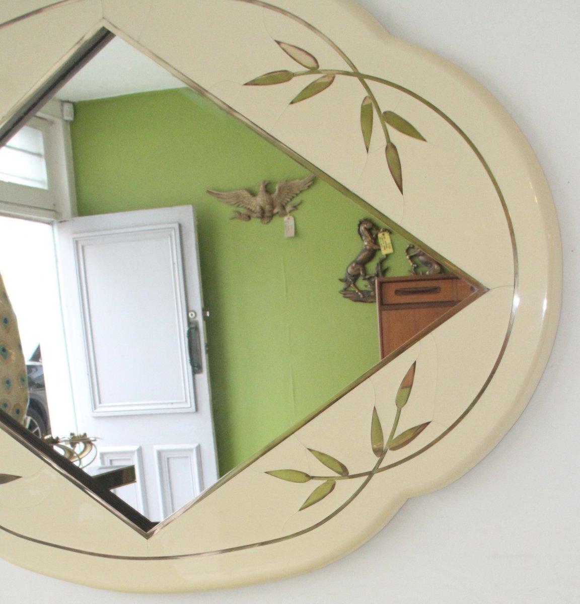 italienischer wandspiegel mit lackiertem rahmen und. Black Bedroom Furniture Sets. Home Design Ideas