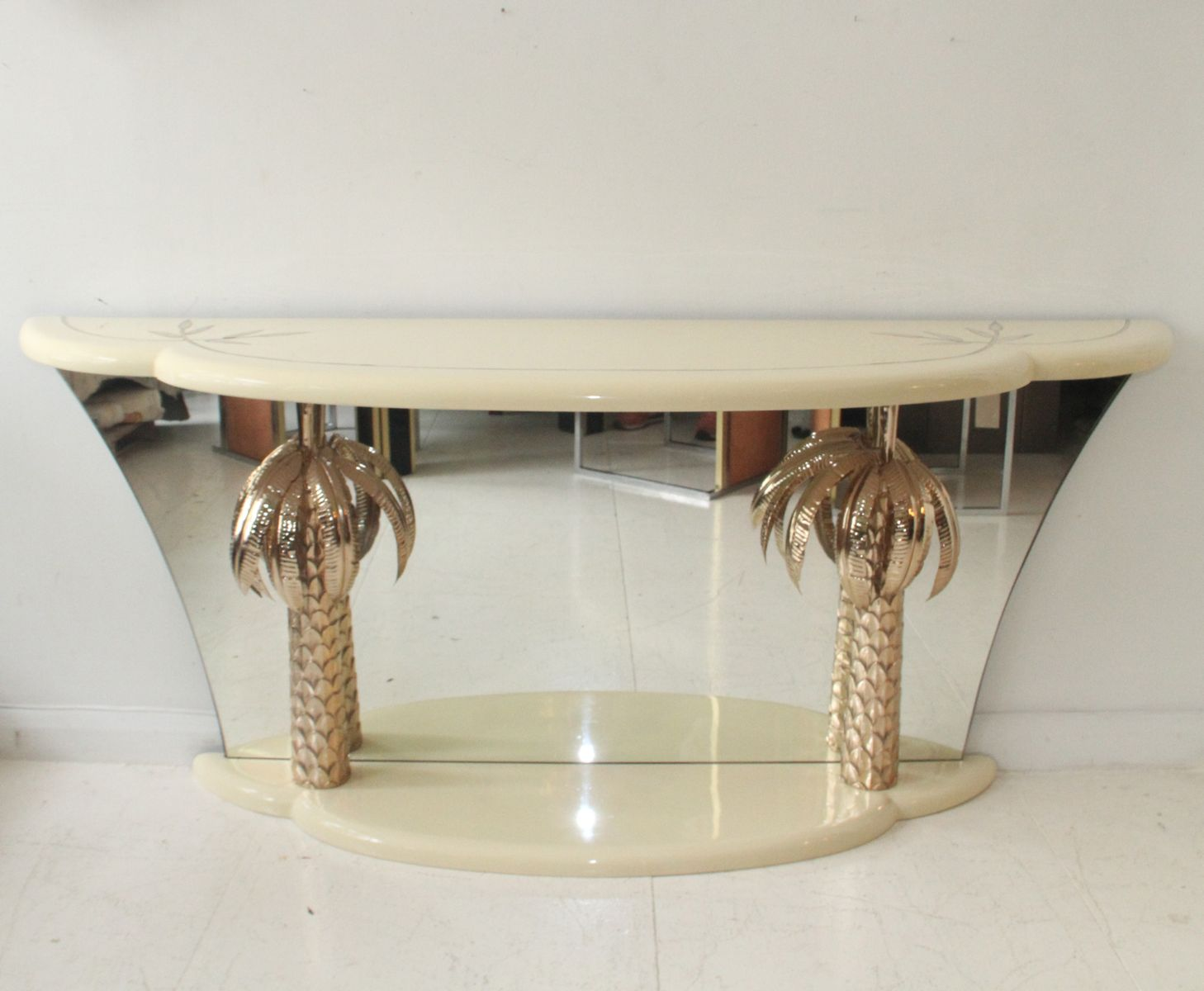 Vintage italian lacquer and brass palm tree console table for sale vintage italian lacquer and brass palm tree console table geotapseo Choice Image