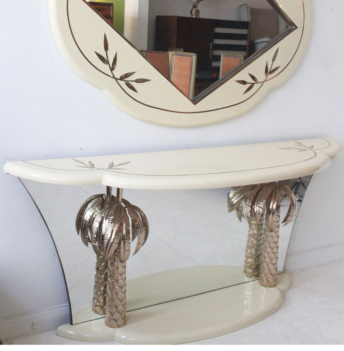 vintage italian lacquer and brass palm tree console table for sale
