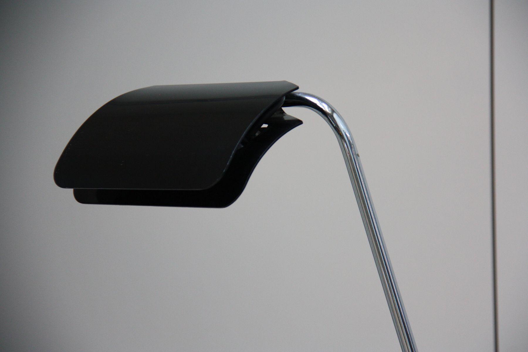 lampadaire vintage avec abat jour en m tal noir et pieds en marbre noir par bruno gecchelin en. Black Bedroom Furniture Sets. Home Design Ideas