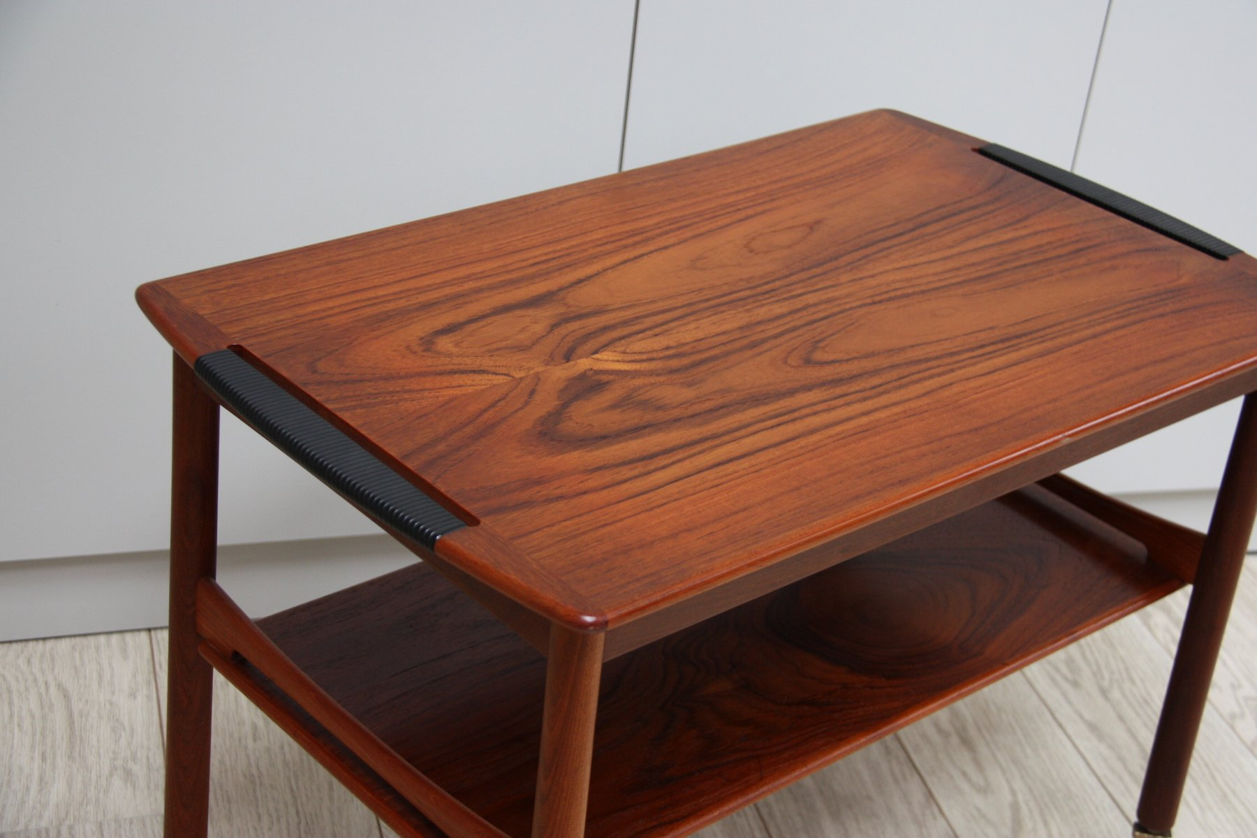 Vintage Coffee Table in Rosewood on Wheels 1950s for sale at Pamono