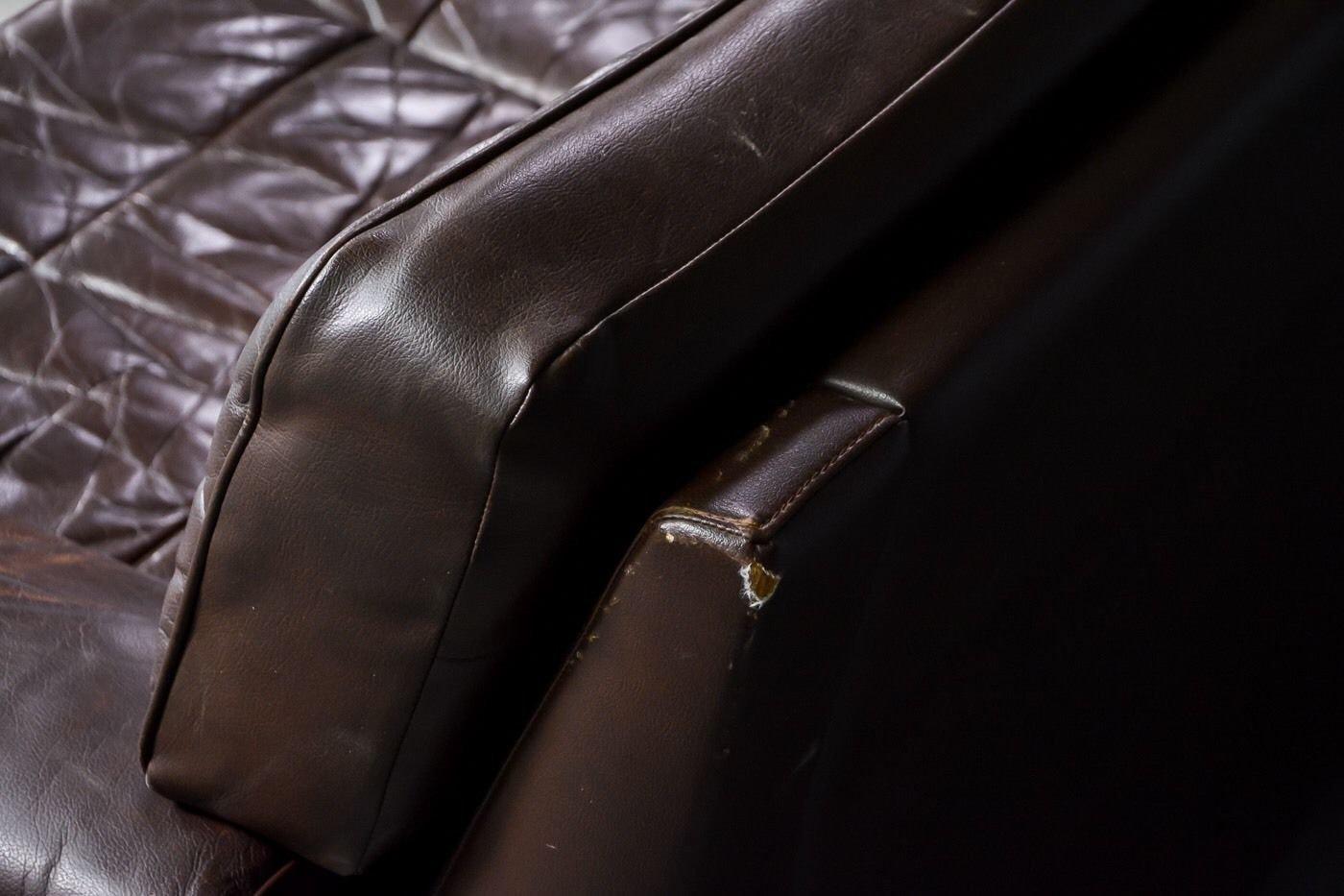 Dänisches Vintage Ecksofa aus Braunem Leder bei Pamono kaufen -> Ecksofa Leder Braun Vintage
