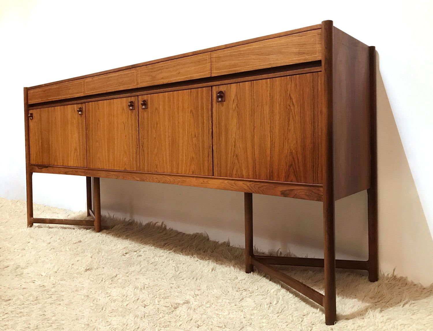 mid century large rosewood birch sideboard 1960s for sale at pamono. Black Bedroom Furniture Sets. Home Design Ideas