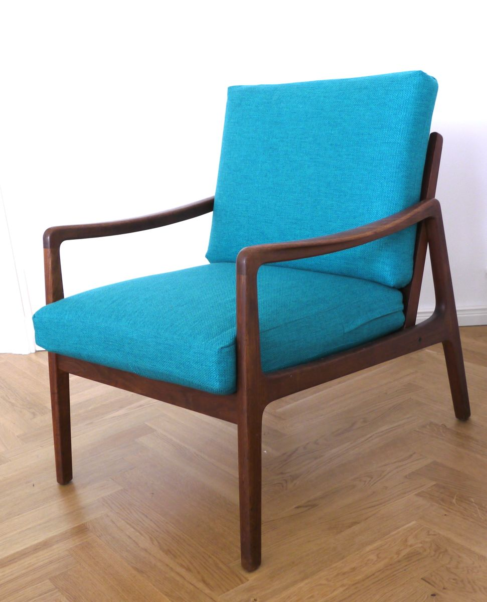 Mid Century FD109 Blue Teak Easy Lounge Chair by Ole Wanscher for France &amp