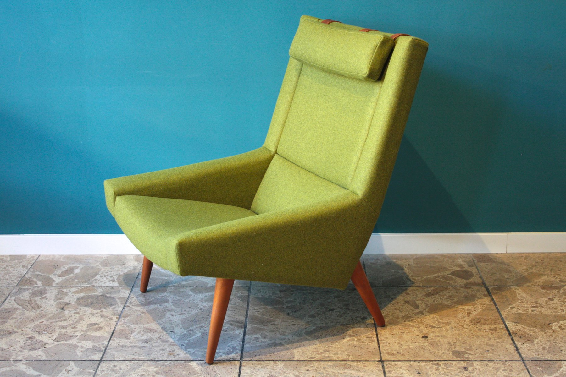 High back lounge chairs - Vintage Highback Green Lounge Chair By Illum Wikkelso For Soren Willadsen