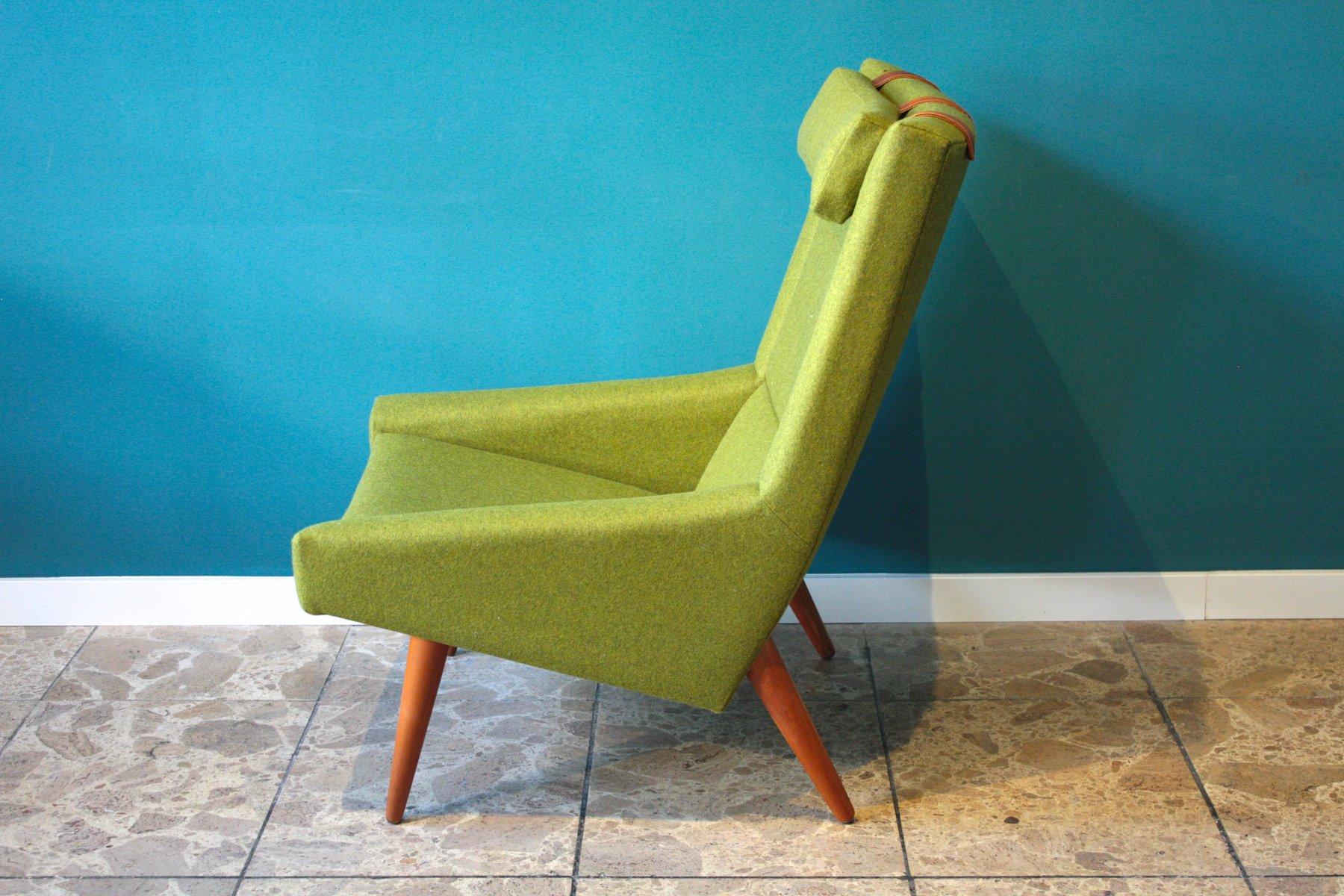gr ner vintage sessel mit hoher r ckenlehne von illum. Black Bedroom Furniture Sets. Home Design Ideas