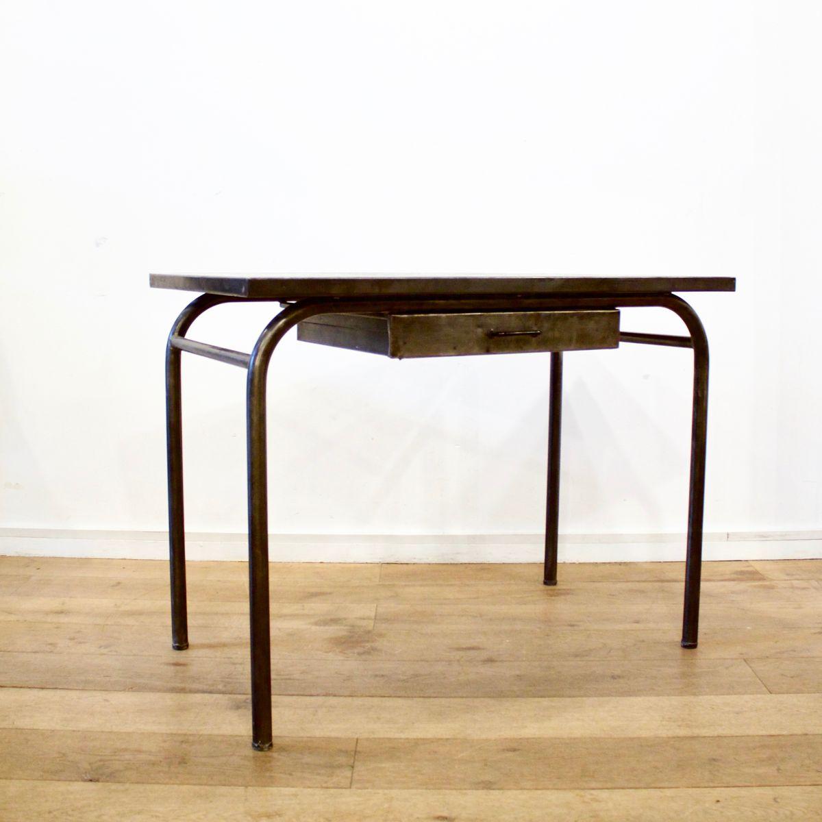 industrieller schreibtisch aus geb rstetem metall 1940er bei pamono kaufen. Black Bedroom Furniture Sets. Home Design Ideas