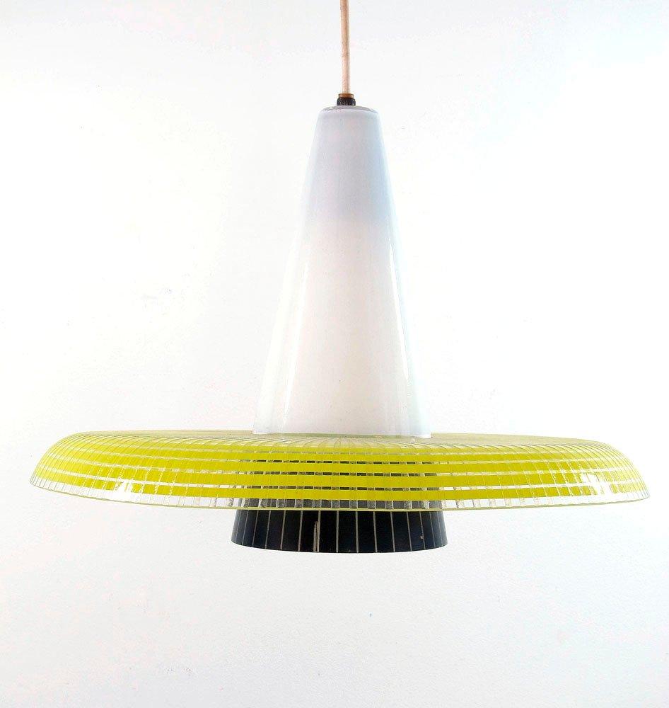 Lampe suspension vintage en verre jaune et noir en vente sur pamono - Lampe suspension vintage ...