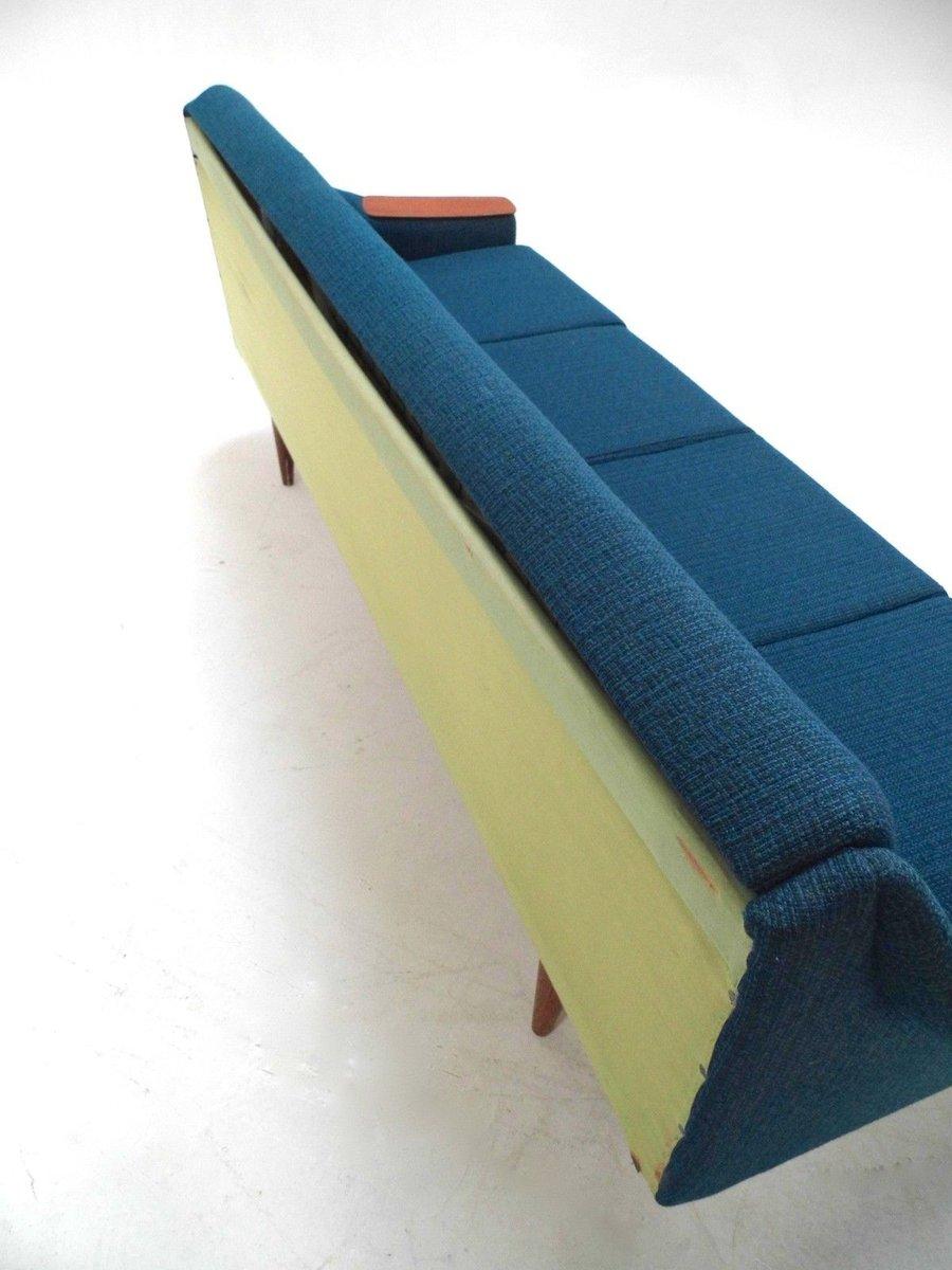 Canap lit double quatre place en laine bleue et teck for Canape lit en anglais