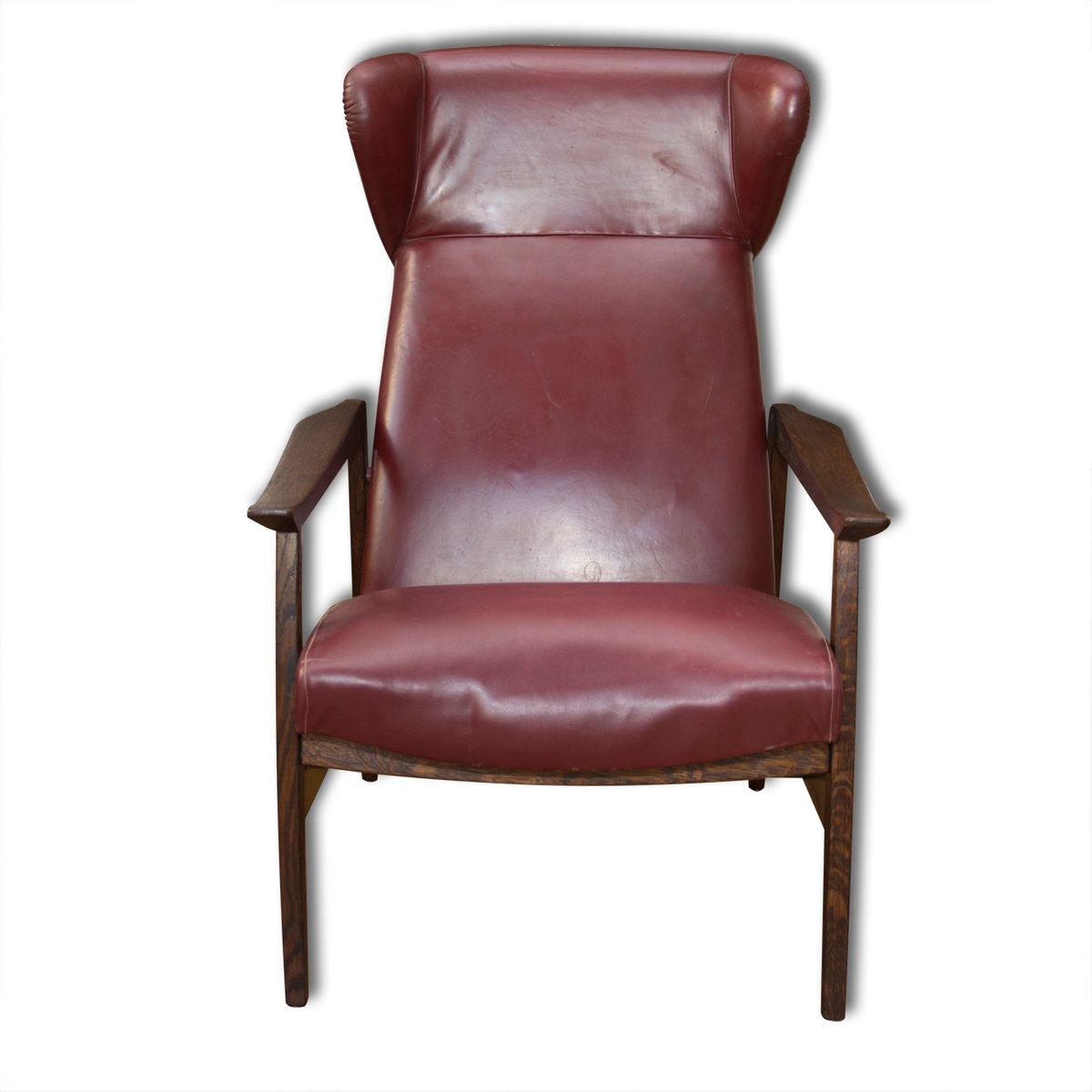 verstellbarer europ ischer leder ohrensessel 1940er bei. Black Bedroom Furniture Sets. Home Design Ideas