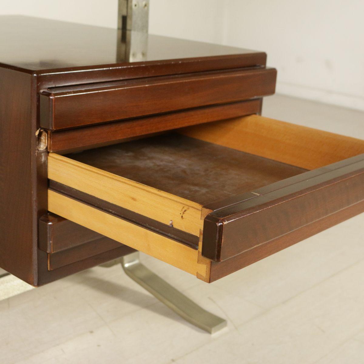 vintage schreibtisch aus walnuss furnier verchromtem metall mit schubladen von formanova bei. Black Bedroom Furniture Sets. Home Design Ideas