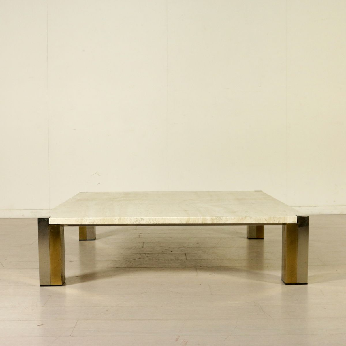 Marble And Steel Coffee Table: Large Marble, Steel, And Brass Coffee Table, 1980s For