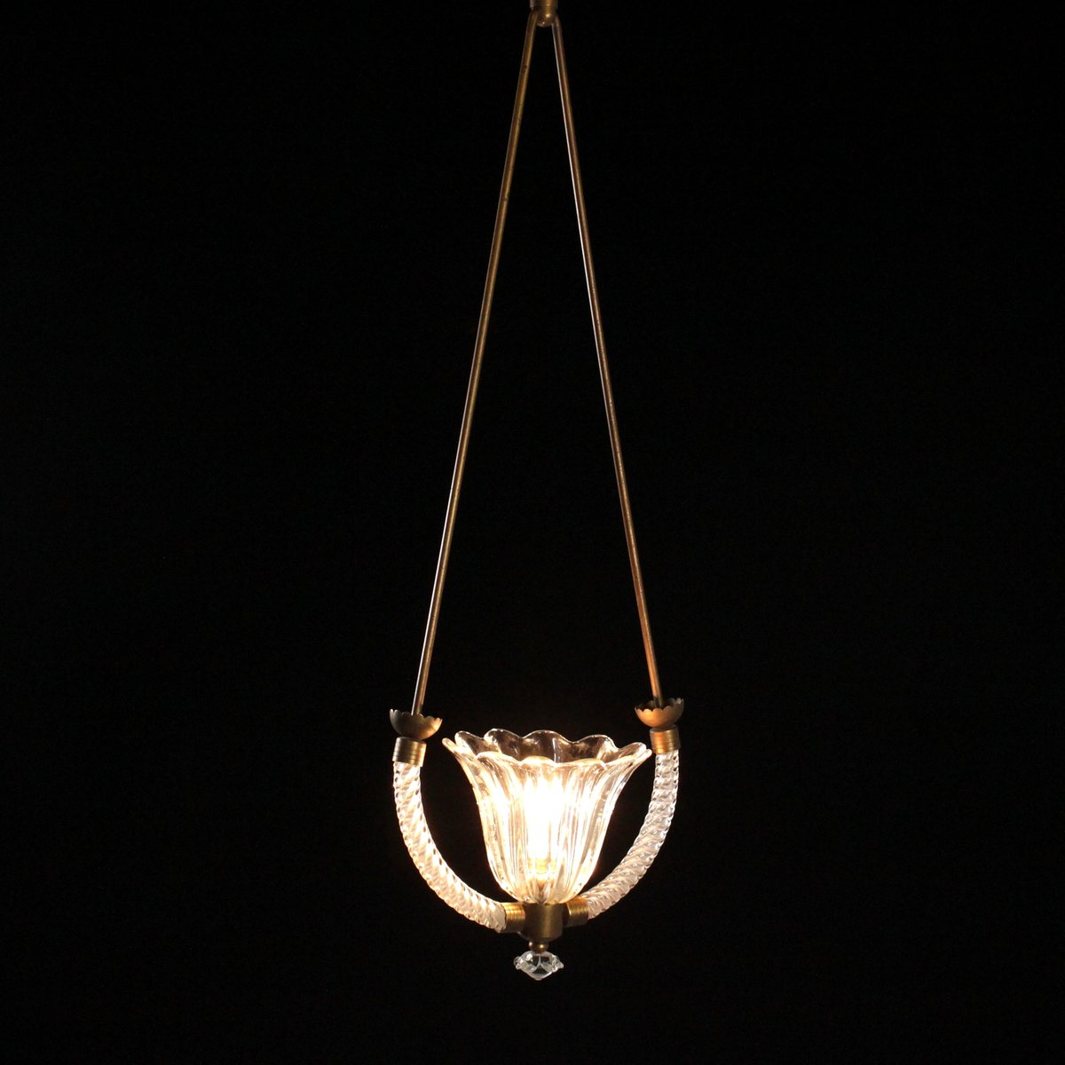 Suspension vintage en verre souffl et laiton en vente sur for Suspension en solde