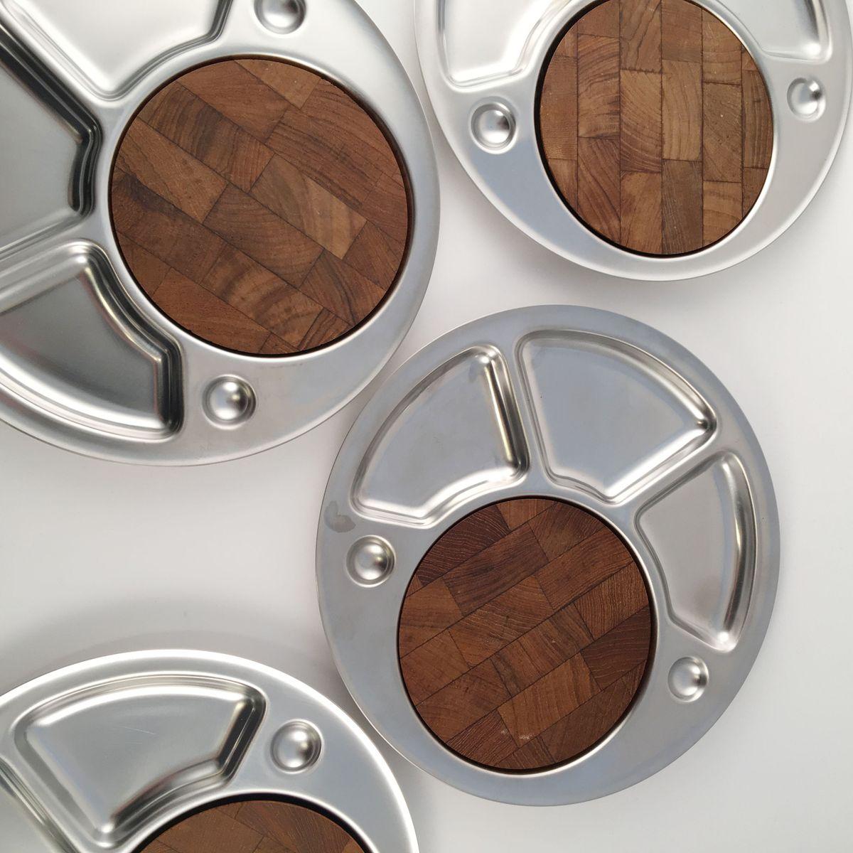 assiettes fondue vintage par peter holmblad pour stelton danemark set de 4 en vente sur pamono. Black Bedroom Furniture Sets. Home Design Ideas
