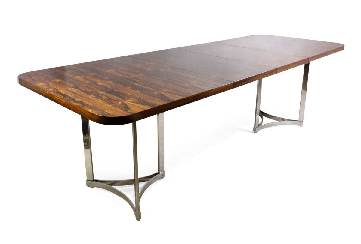 rosewood  chrome dining table by richard young for merrow  - rosewood  chrome dining table by richard young for merrow associates s