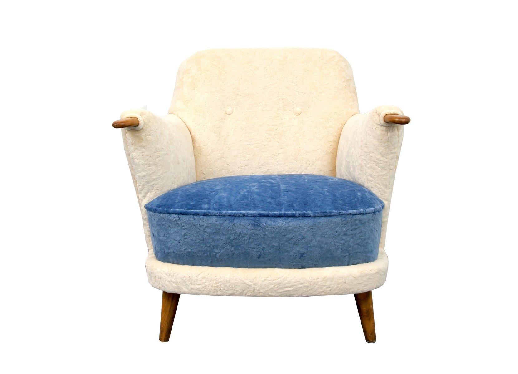 Fauteuil Couleur Cr¨me et Bleu 1950s en vente sur Pamono
