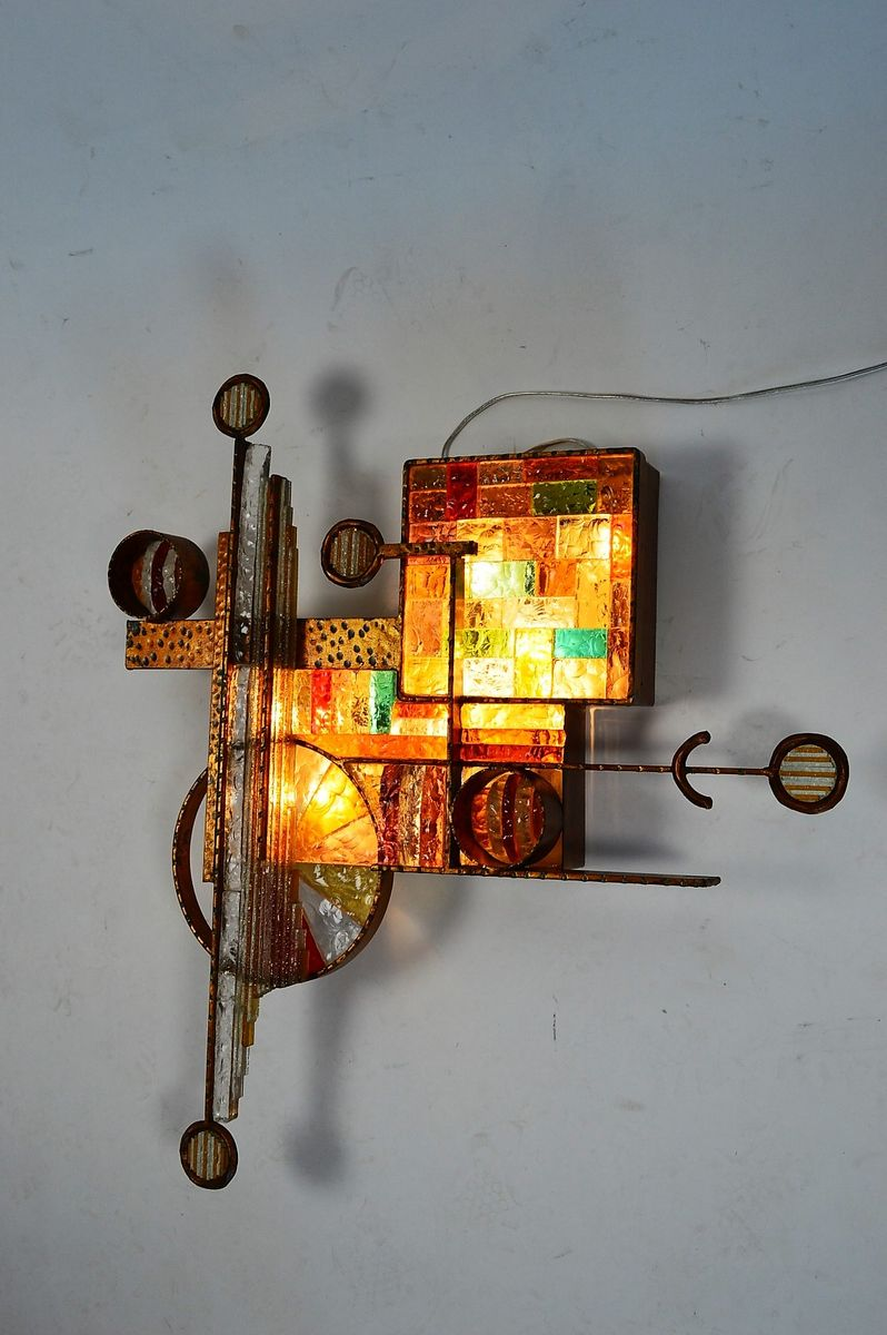 Gilt Iron and Colored Glass Wall Sconce by Longobard, 1970s for sale at Pamono