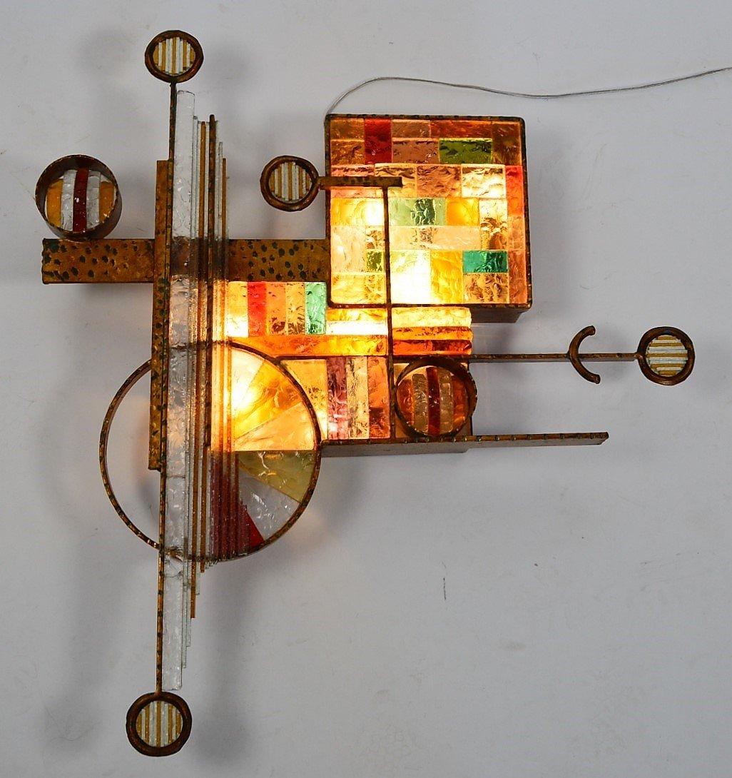 applique murale en fer dor et verre color par longobard 1970s en vente sur pamono. Black Bedroom Furniture Sets. Home Design Ideas