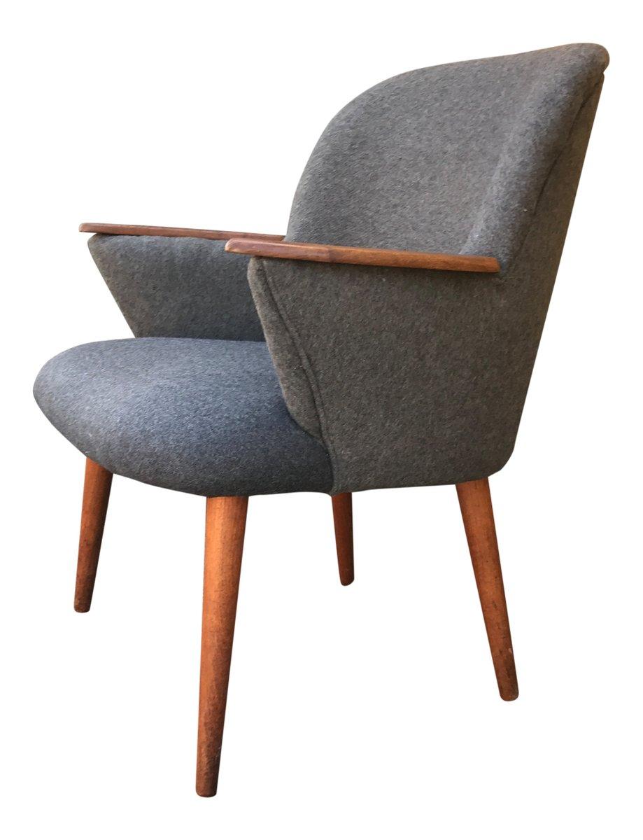 mid century sessel mit grauem wollbezug von lholm m bler. Black Bedroom Furniture Sets. Home Design Ideas