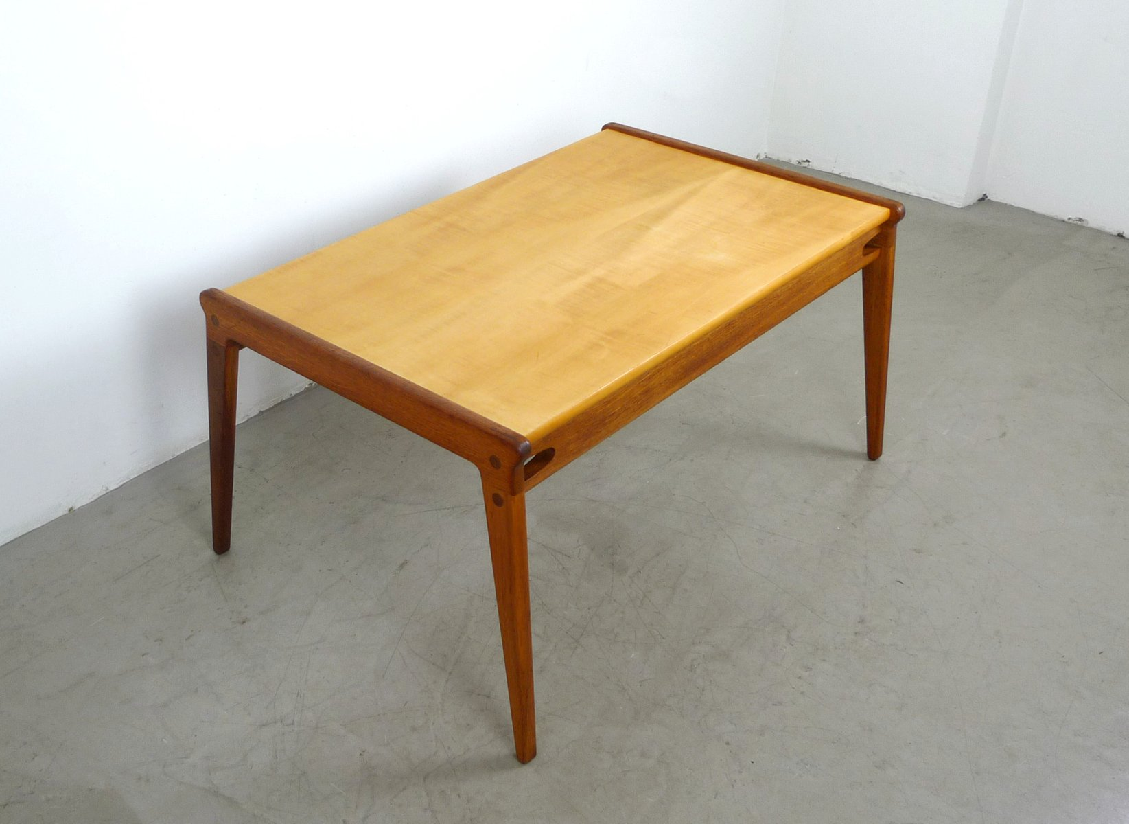 German Solid Oak & Maple Coffee Table 1950s for sale at Pamono