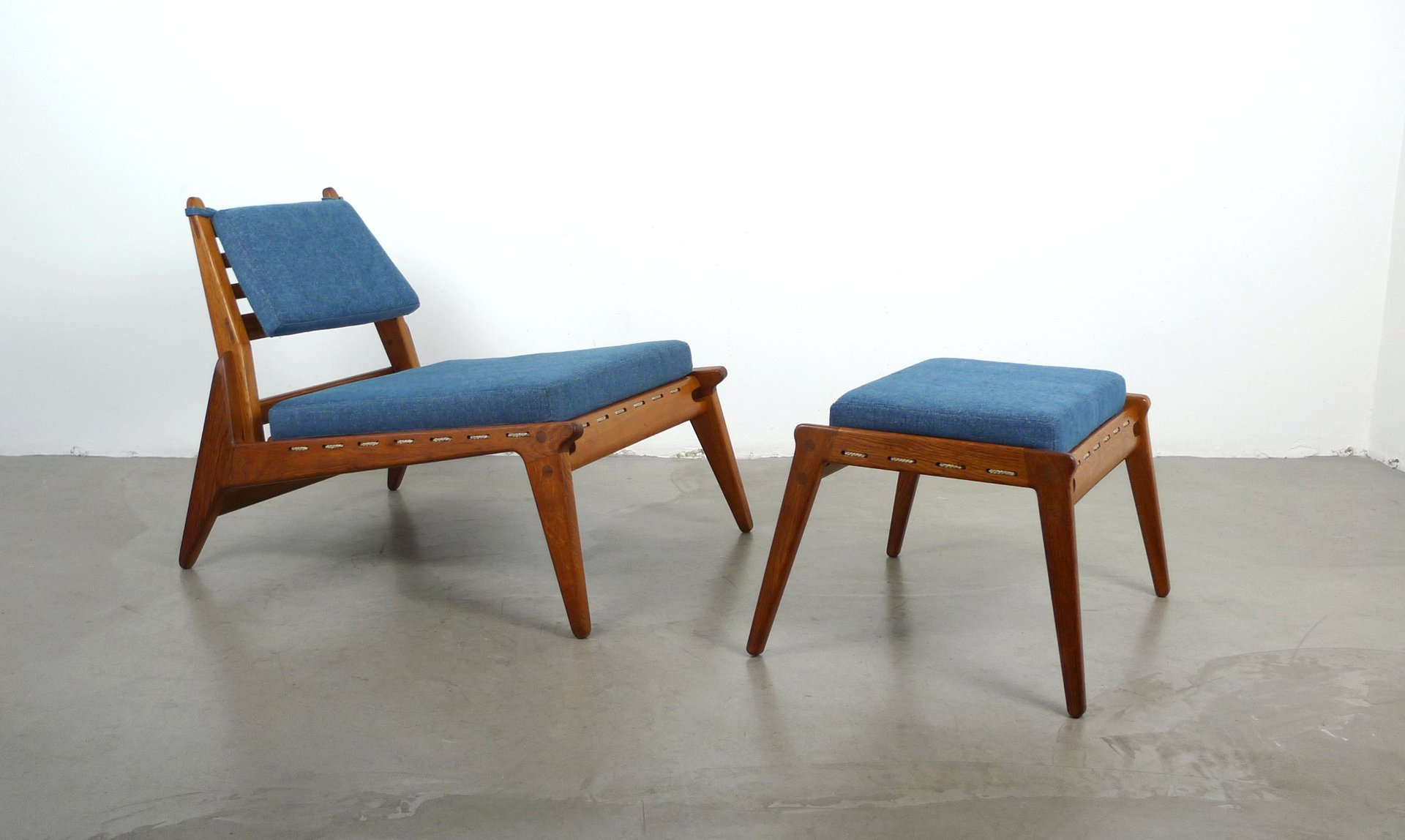 Vintage German Low Lounge Chair with Ottoman 1950s for sale at Pamono