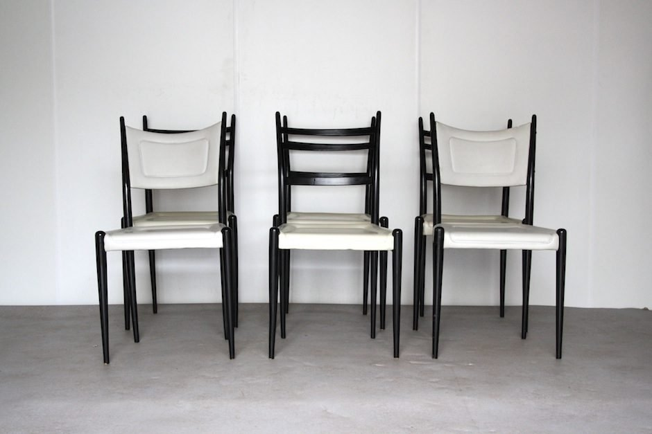 English Wood Faux Leather Dining Chairs from GPlan 1962 Set