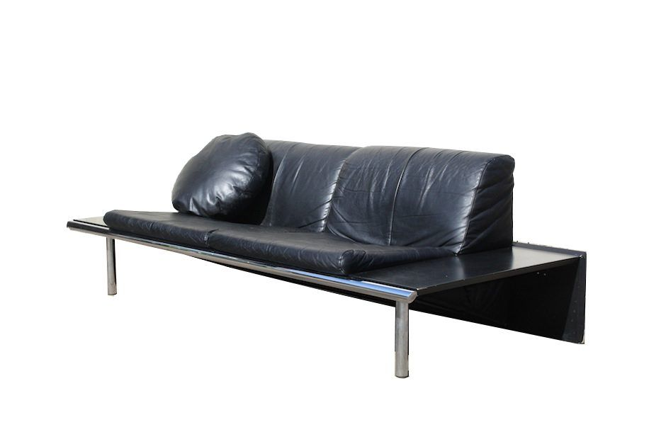 Vintage Dutch Mission Sofa in Black Leather from Harvink for sale