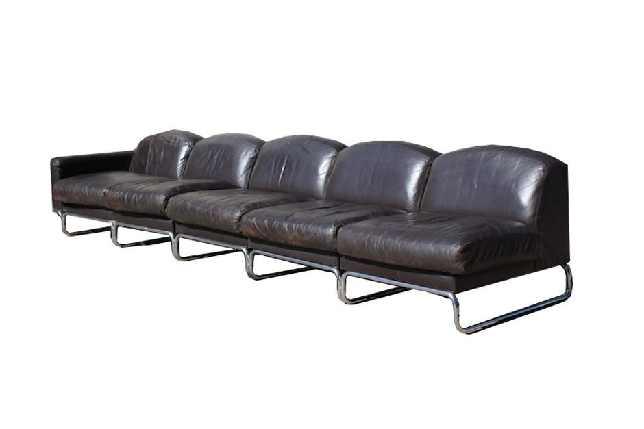 vintage leather and steel modular sofa with magazine stand. Black Bedroom Furniture Sets. Home Design Ideas
