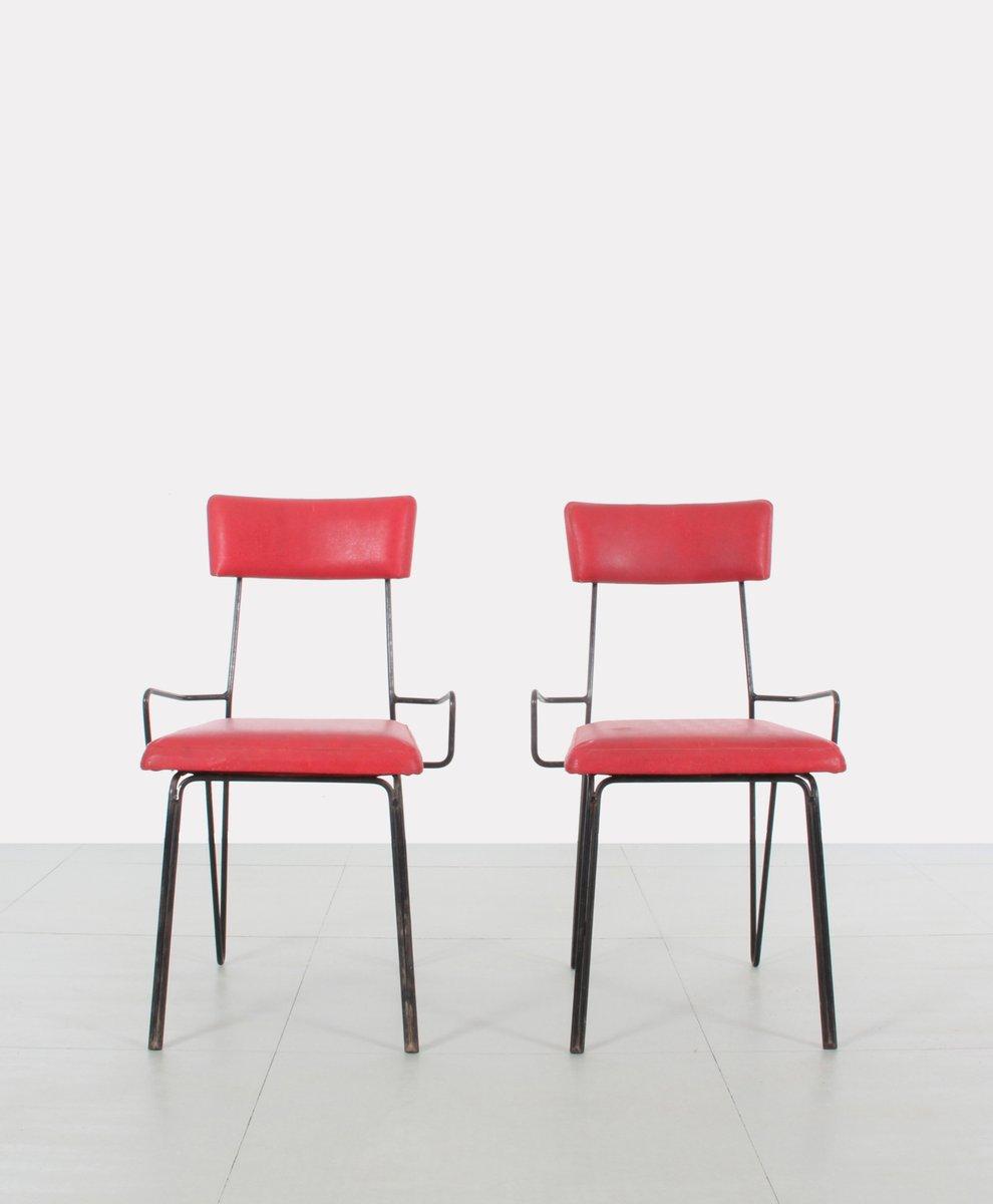 rot bezogene st hle aus metall 1950er 2er set bei pamono kaufen. Black Bedroom Furniture Sets. Home Design Ideas