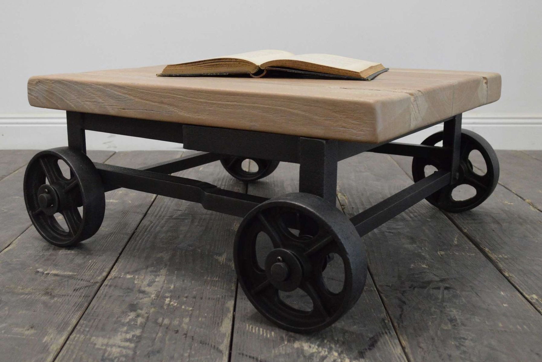 Industrial French Coffee Table On Wheels For Sale At Pamono