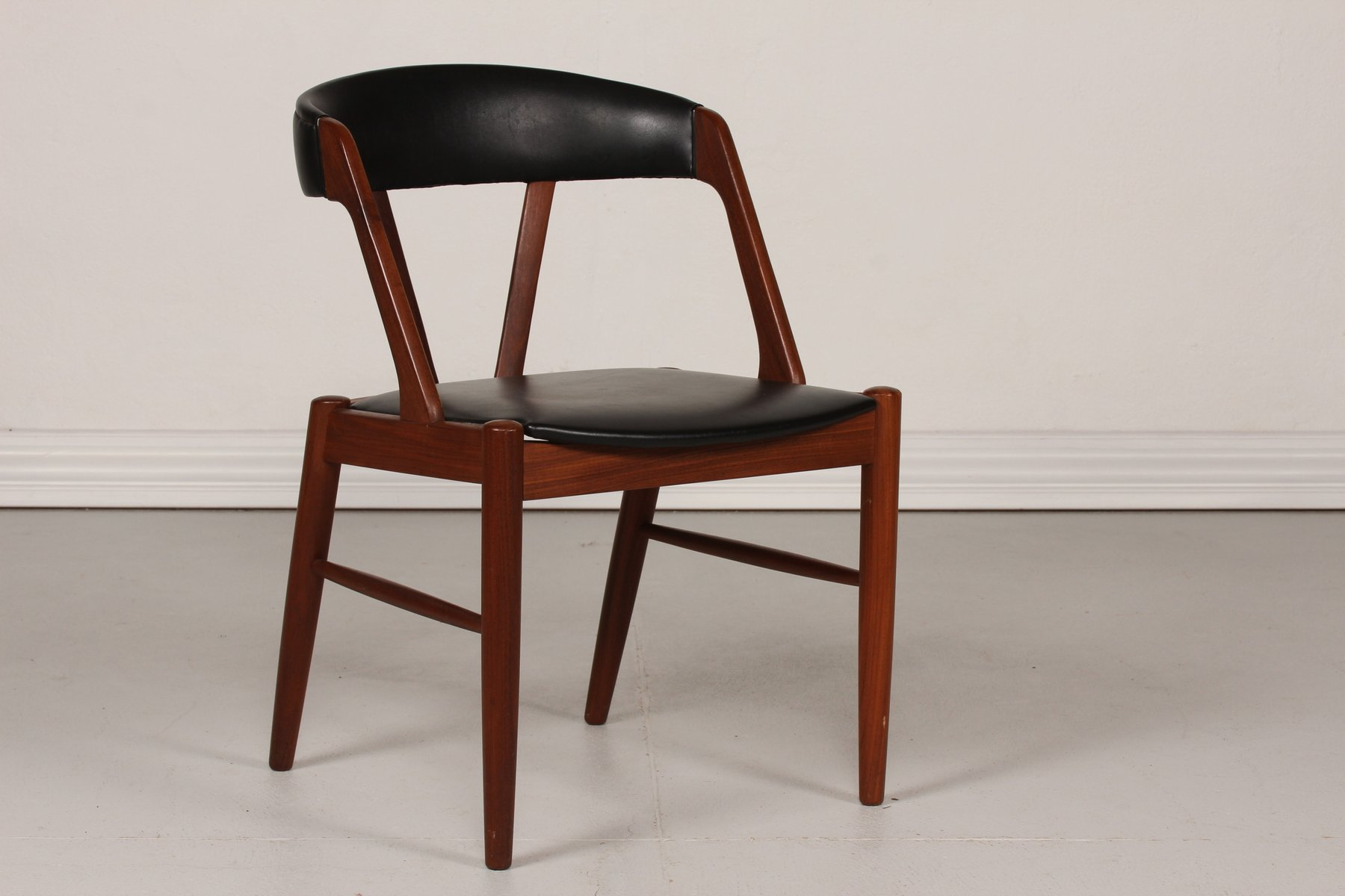Danish Desk Chair in Teak with Black Skai Seat 1960s for sale at