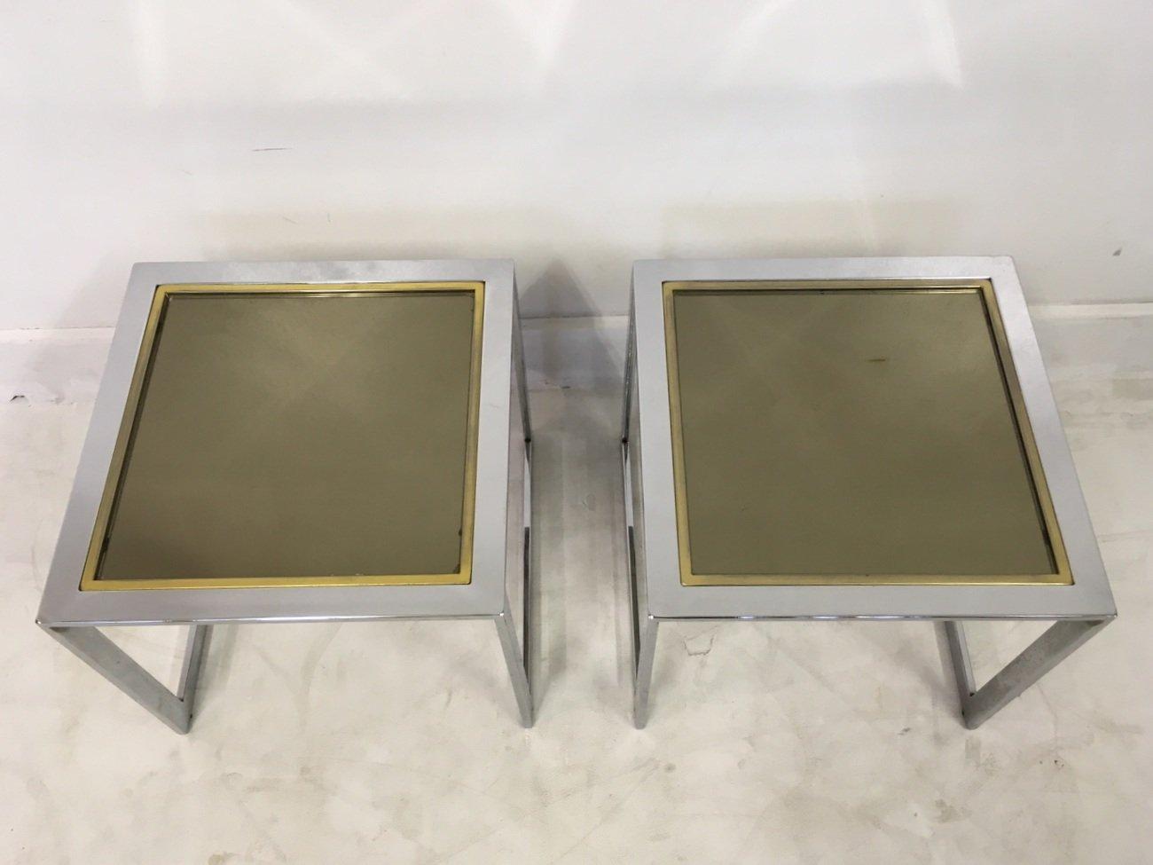 Tables D 39 Appoint Vintage En Chrome Et M Tal Dor Set De 2 En Vente Sur Pamono