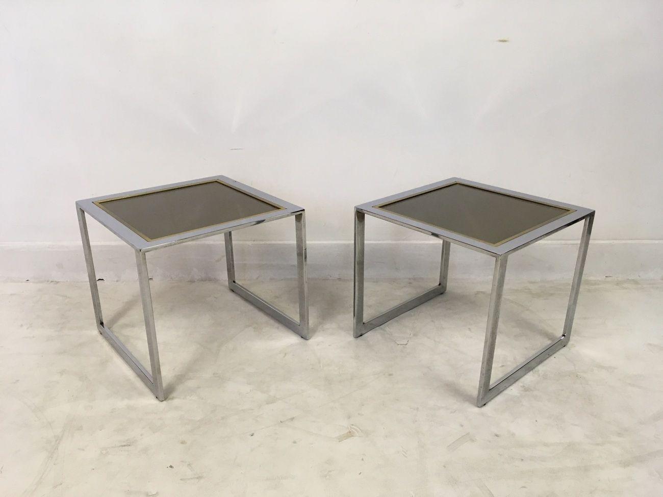 Tables d 39 appoint vintage en chrome et m tal dor set de 2 for Set de table dore