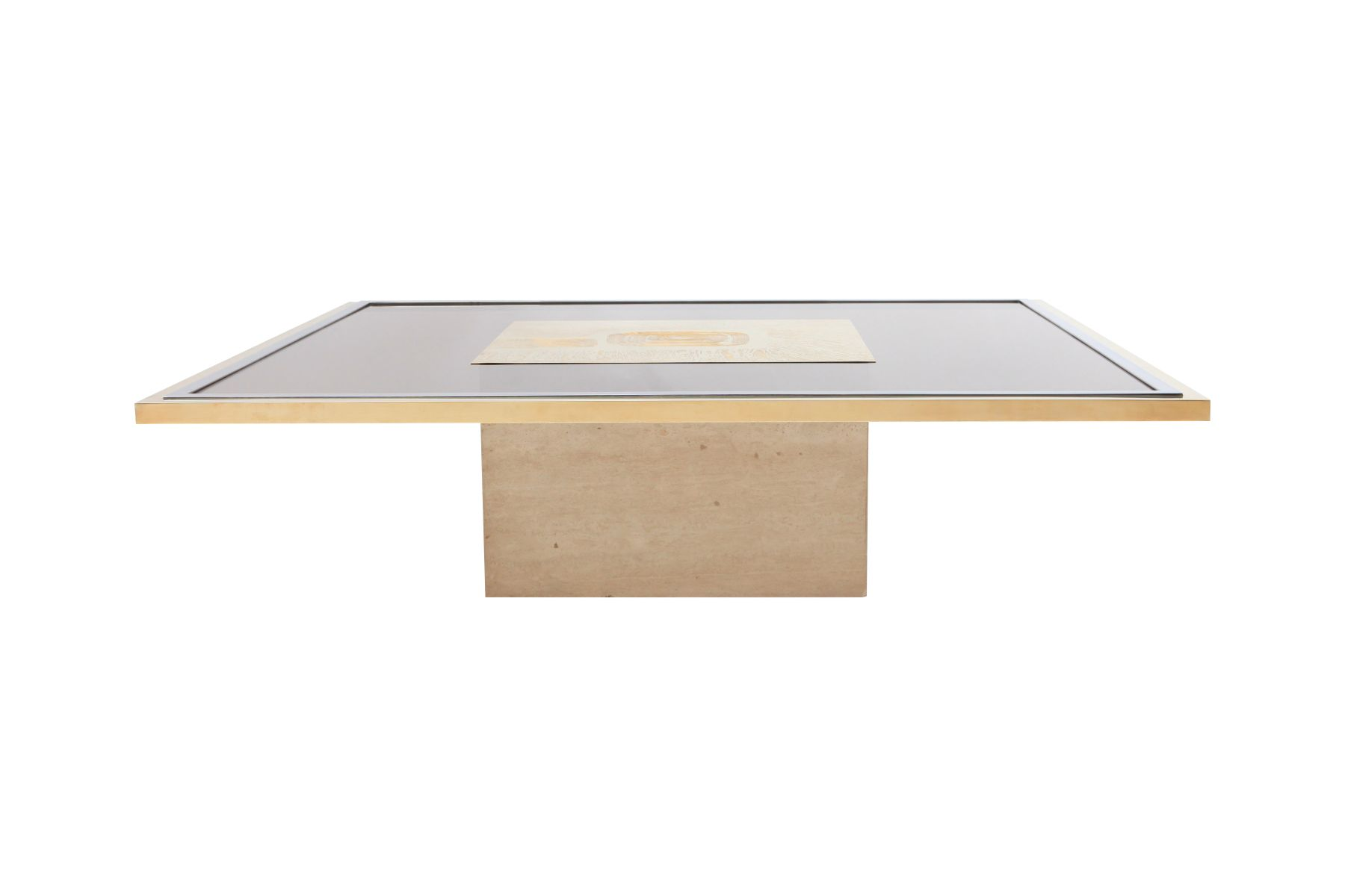 Brass Etched Coffee Table by George Matthias 1970s for sale at Pamono
