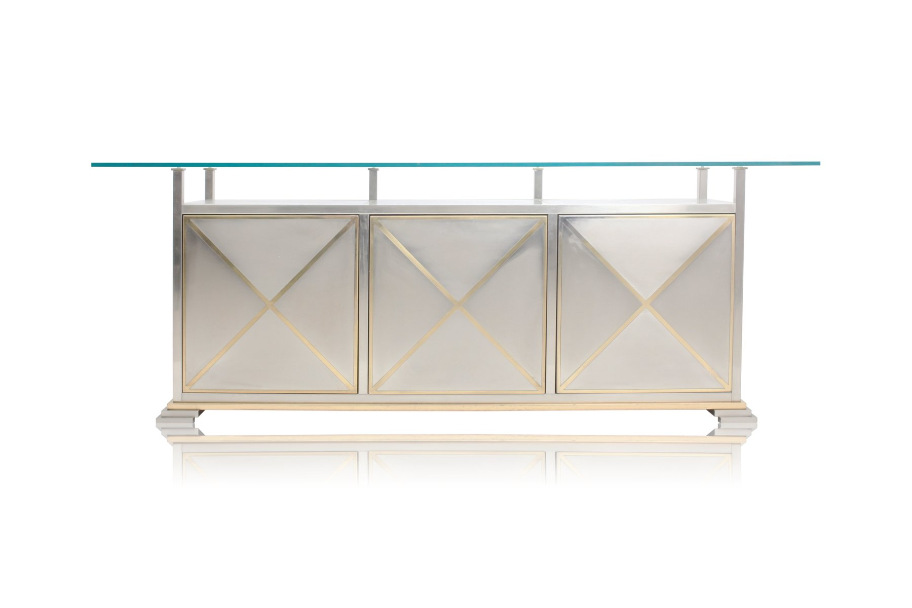 French Credenza with Floating Glass Top from Maison Jansen for