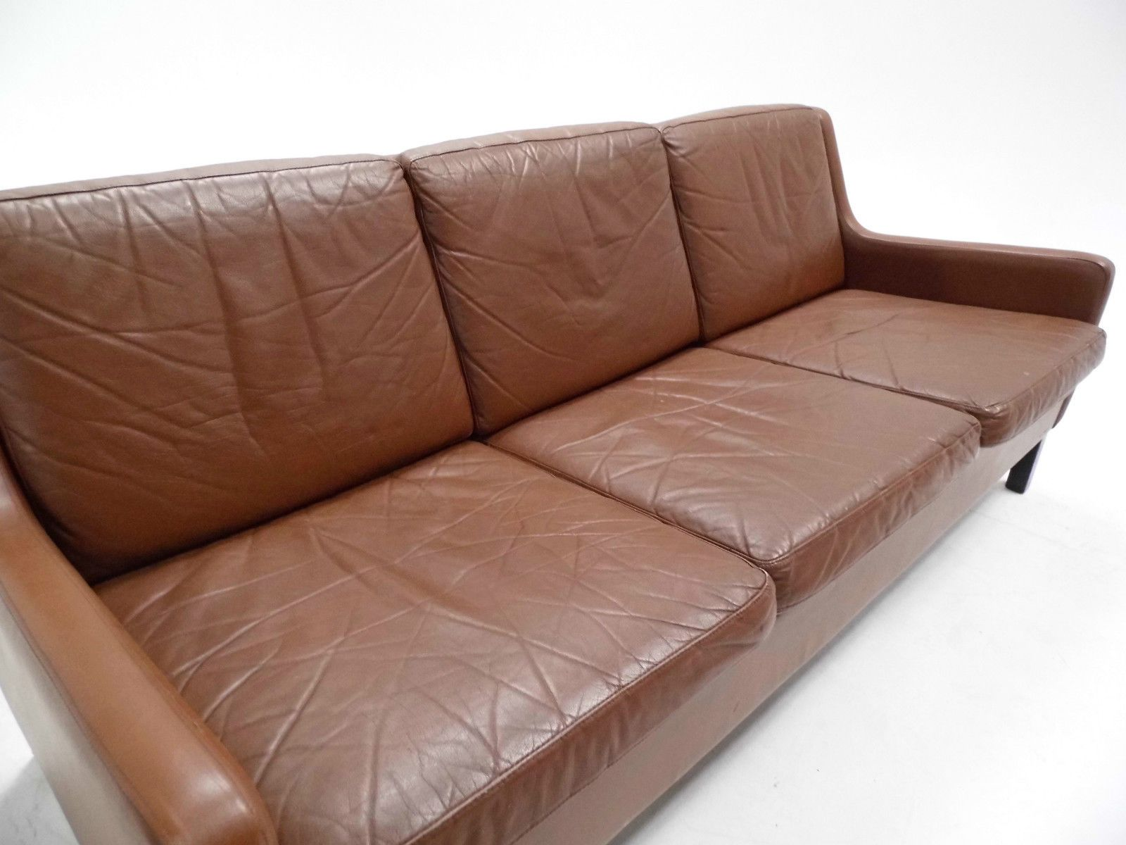 Danish tan leather three seater sofa 1960s for sale at pamono for Tan couches for sale