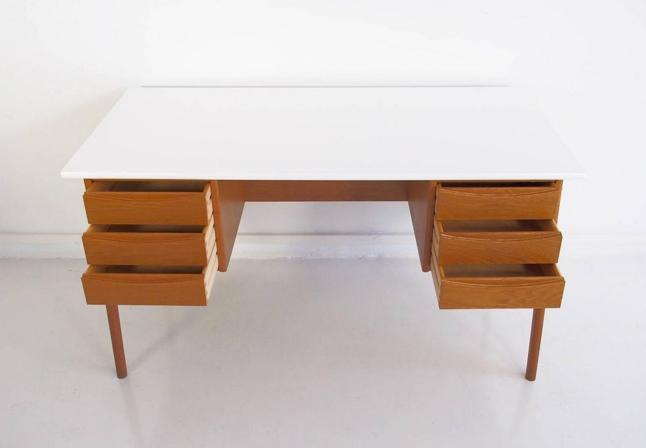 Vintage Oak Writing Desk With White Top