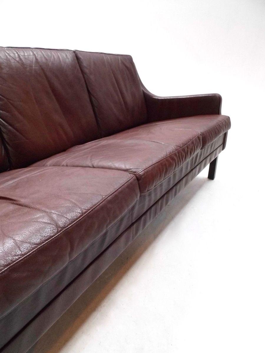 d nisches braunes drei sitzer ledersofa 1960er bei pamono kaufen. Black Bedroom Furniture Sets. Home Design Ideas
