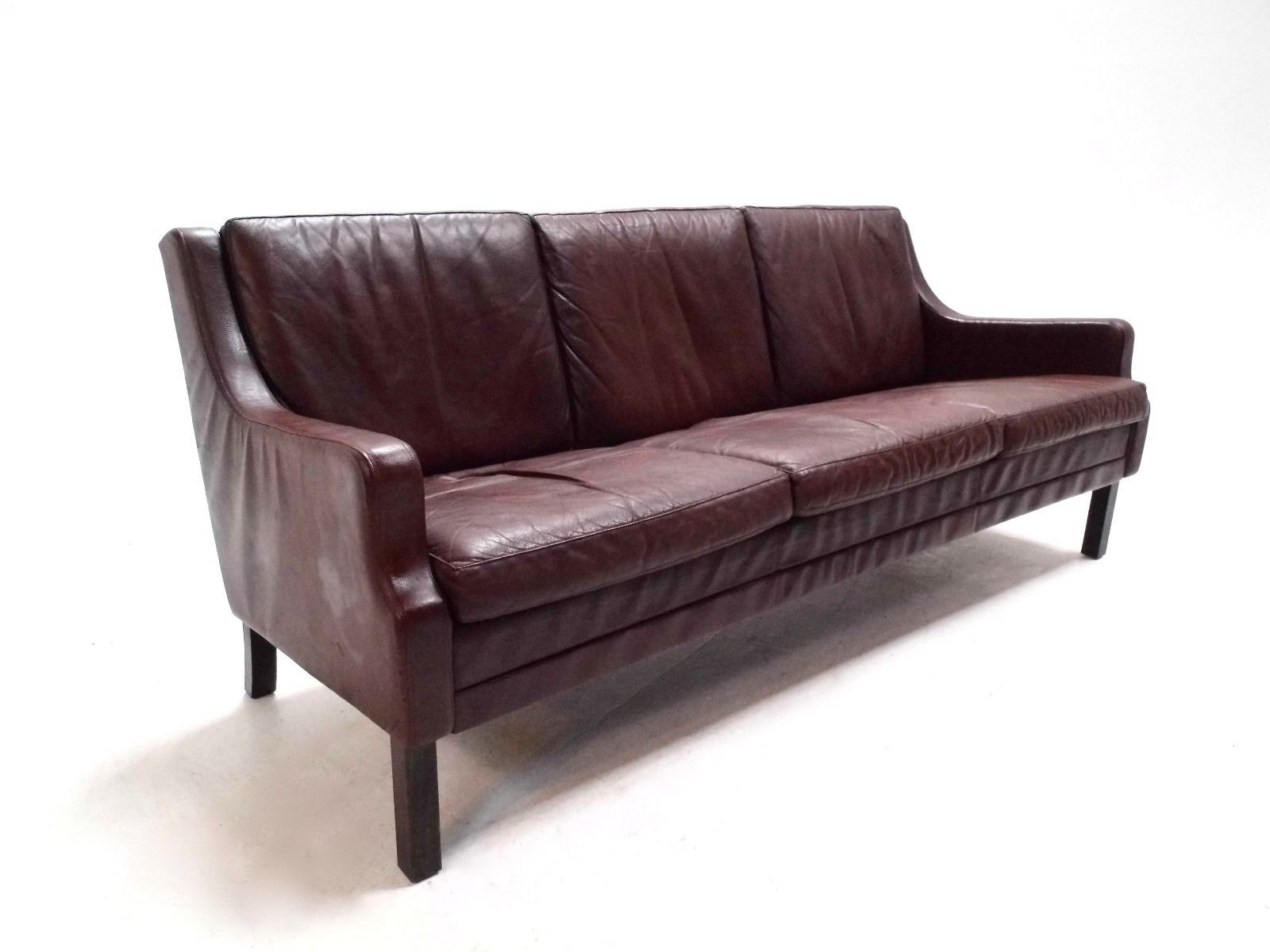 Danish brown leather three seater sofa 1960s for sale at for Sofa 8 seater