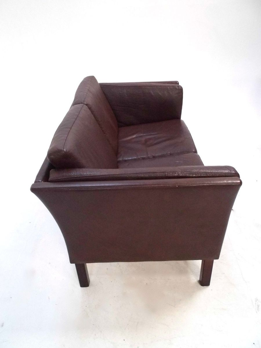 Danish Dark Brown Leather Two Seater Sofa 1960s For Sale At Pamono