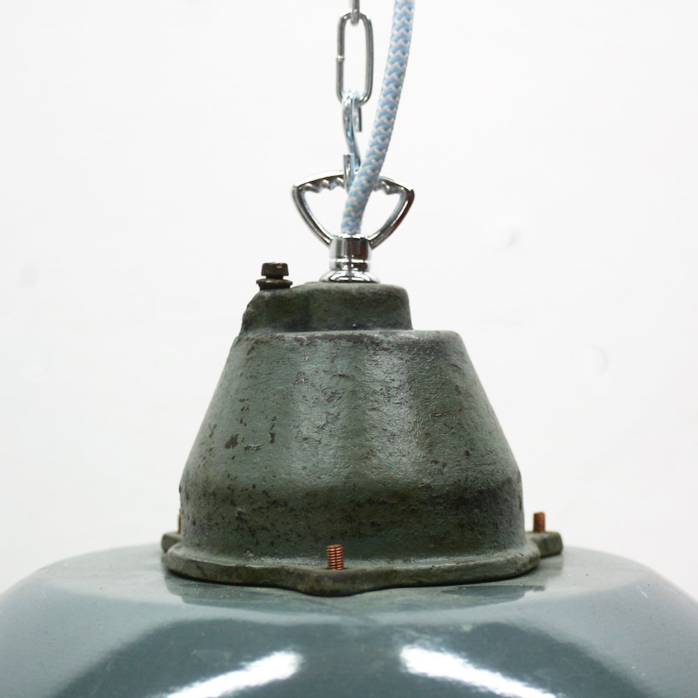 vintage industrial hungarian petrol enameled pendant light for sale at pamono