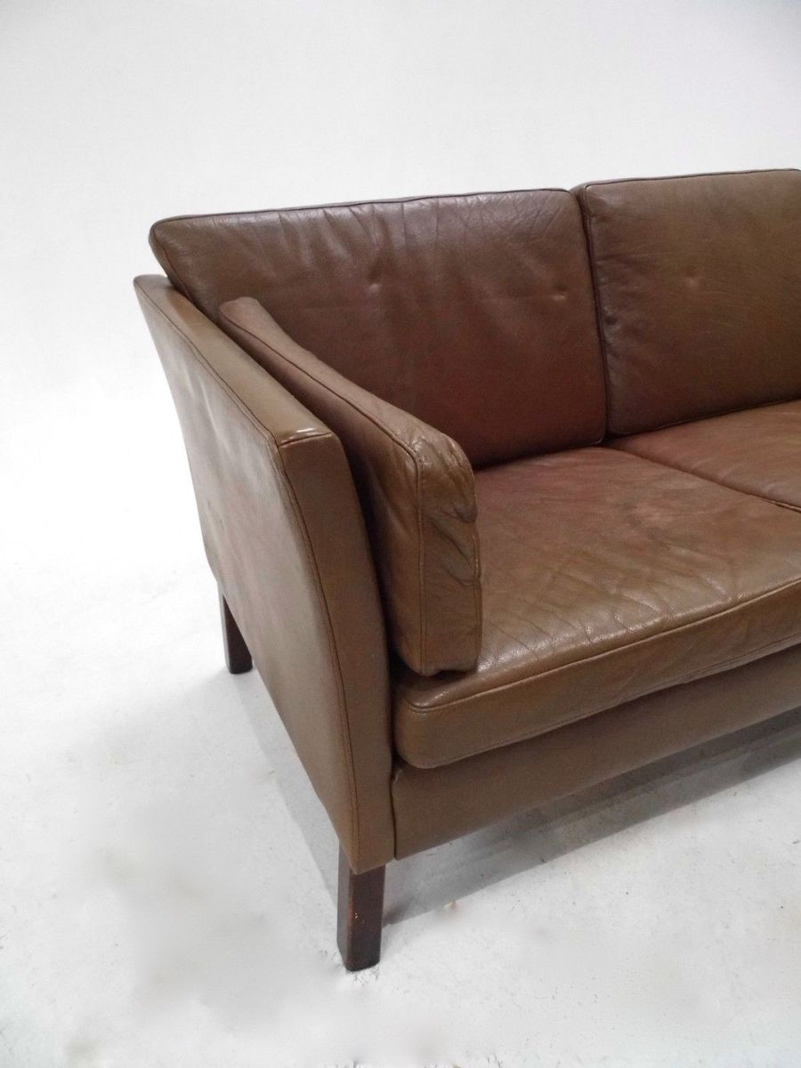Danish olive brown leather three seater sofa 1960s for for Leather sofa 7 seater