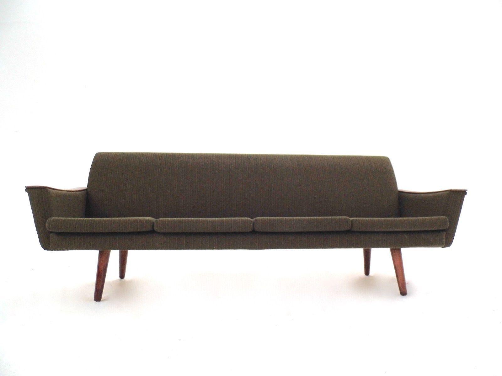 canap quatre places scandinave en laine verte et teck 1950s en vente sur pamono. Black Bedroom Furniture Sets. Home Design Ideas