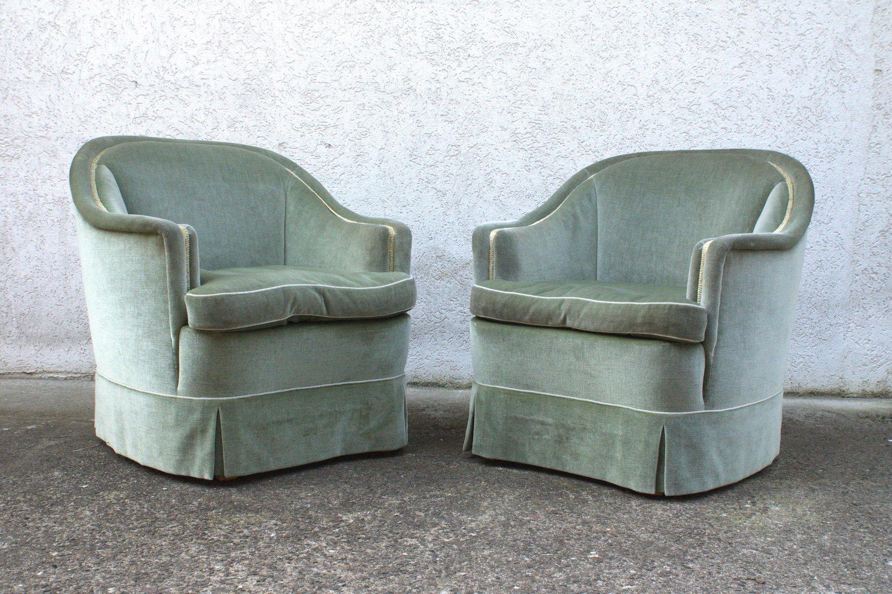 gr ne velours sessel 1950er 2er set bei pamono kaufen. Black Bedroom Furniture Sets. Home Design Ideas