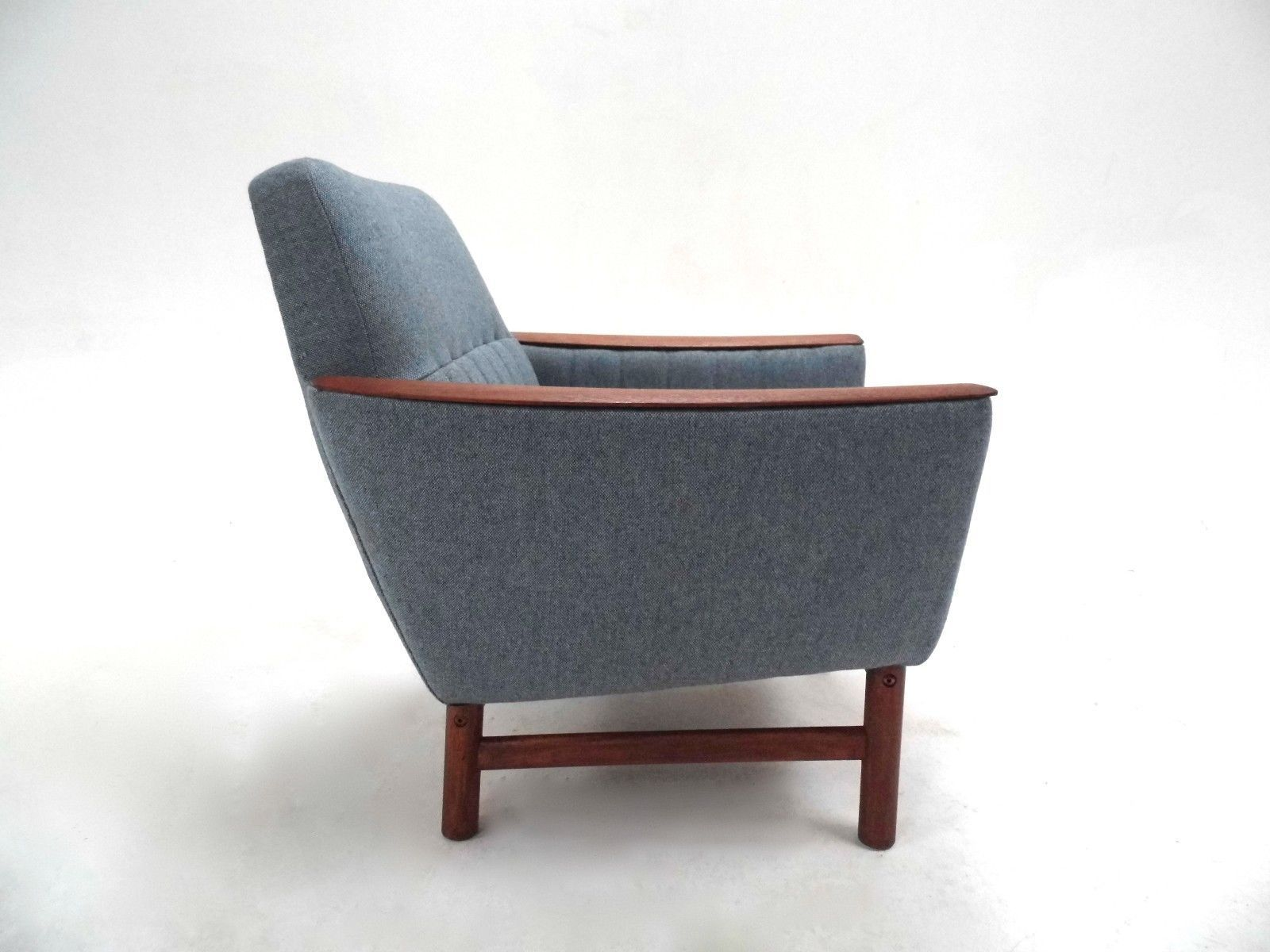 Scandinavian light blue wool teak armchair 1960s for for Light blue armchair