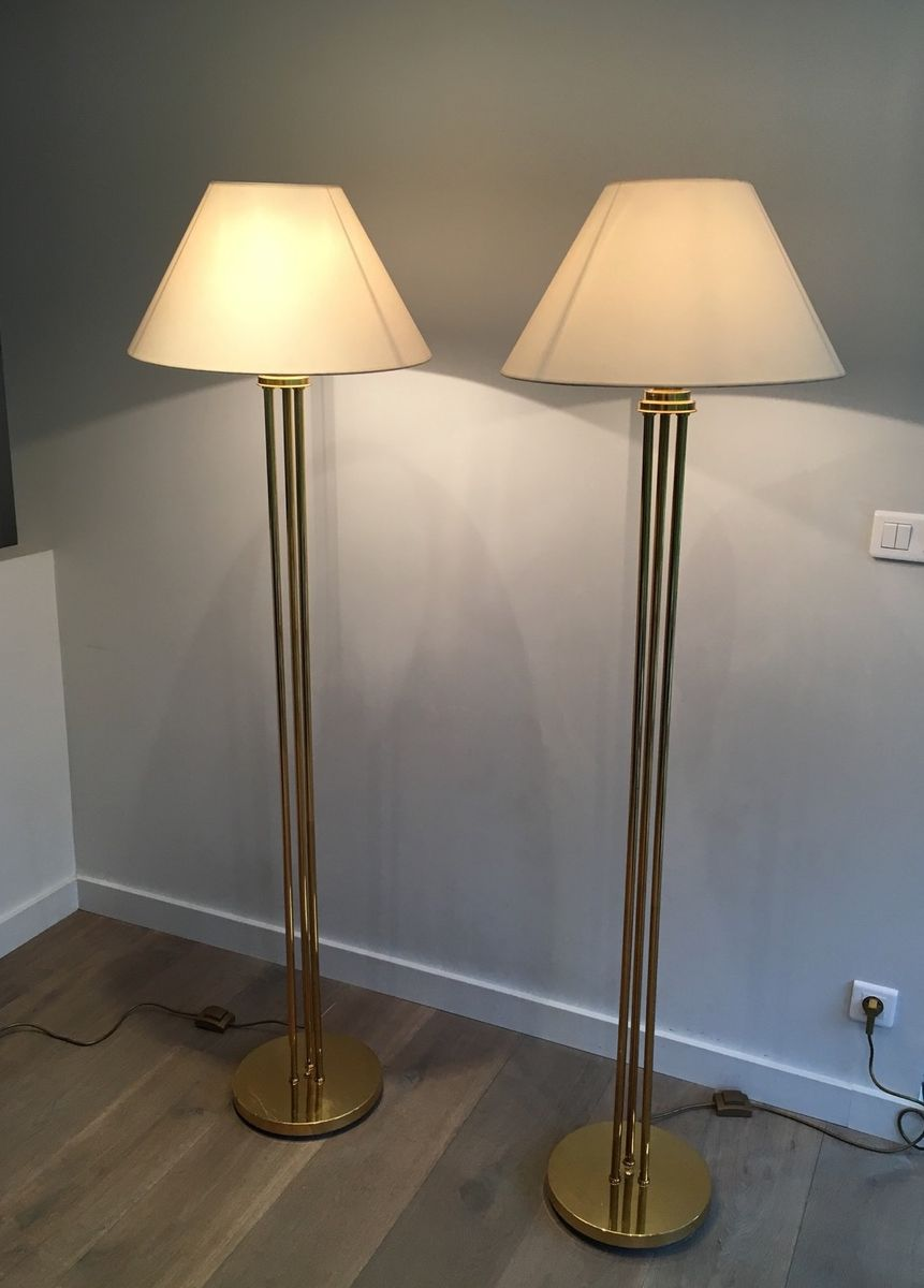 Brass floor lamps 1970s set of 2 for sale at pamono for 1970s floor lamps