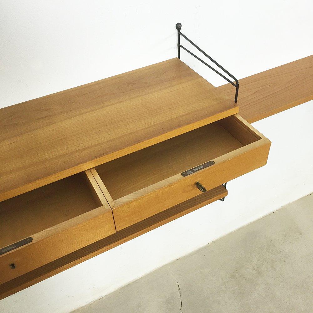 ulmenholz wandregal mit schubladen von nisse strinning f r string 1960er bei pamono kaufen. Black Bedroom Furniture Sets. Home Design Ideas