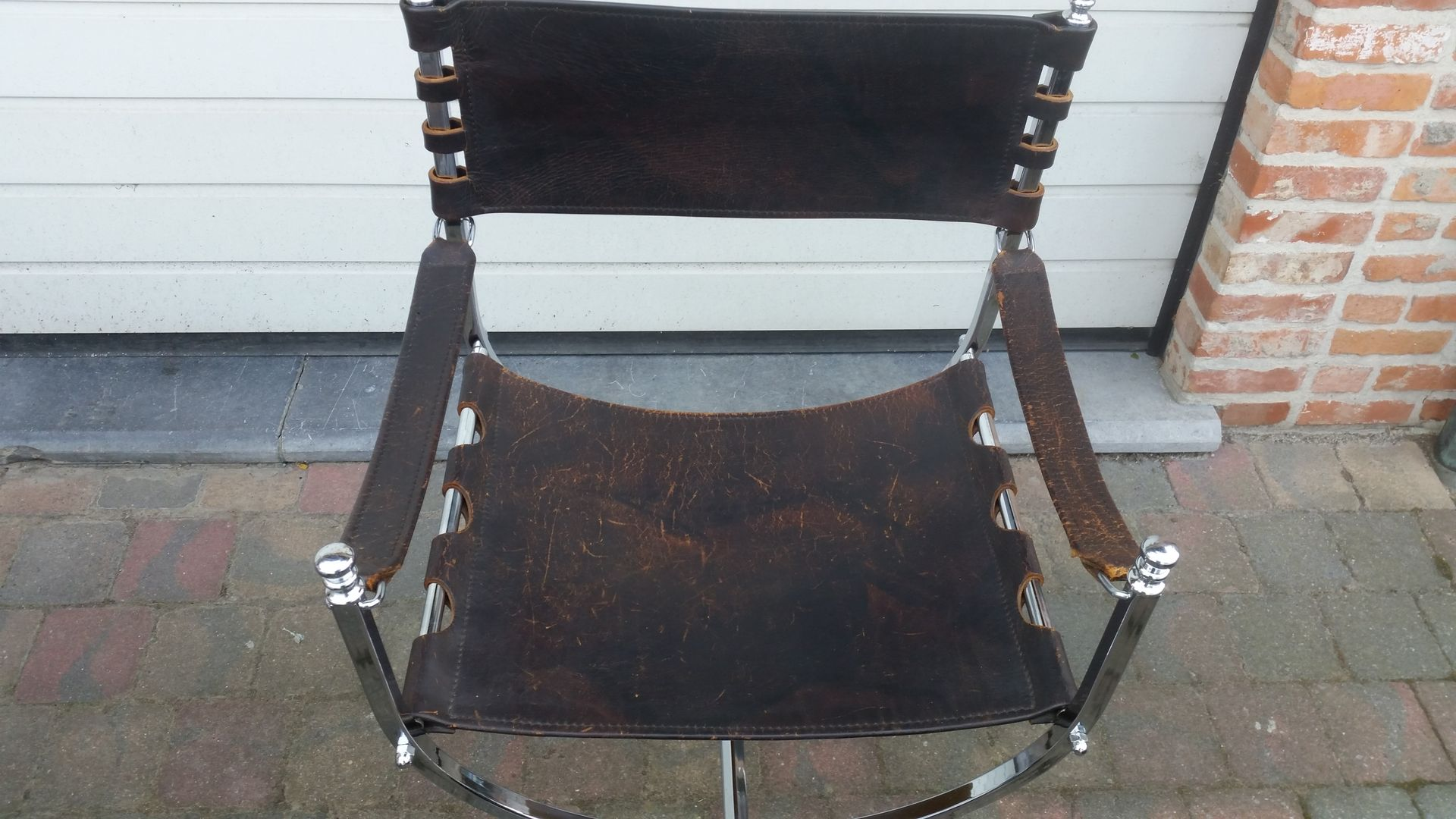 Mid Century Dagobert Chromed Metal And Leather Chair From Maison Jansen