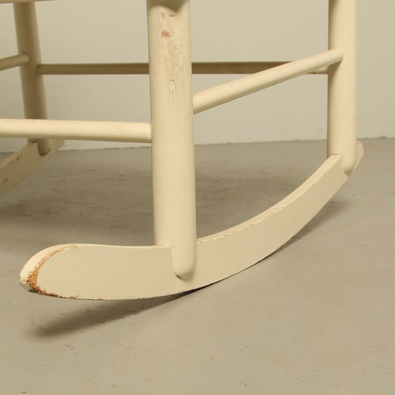 Vintage Swedish White Rocking Chair for sale at Pamono