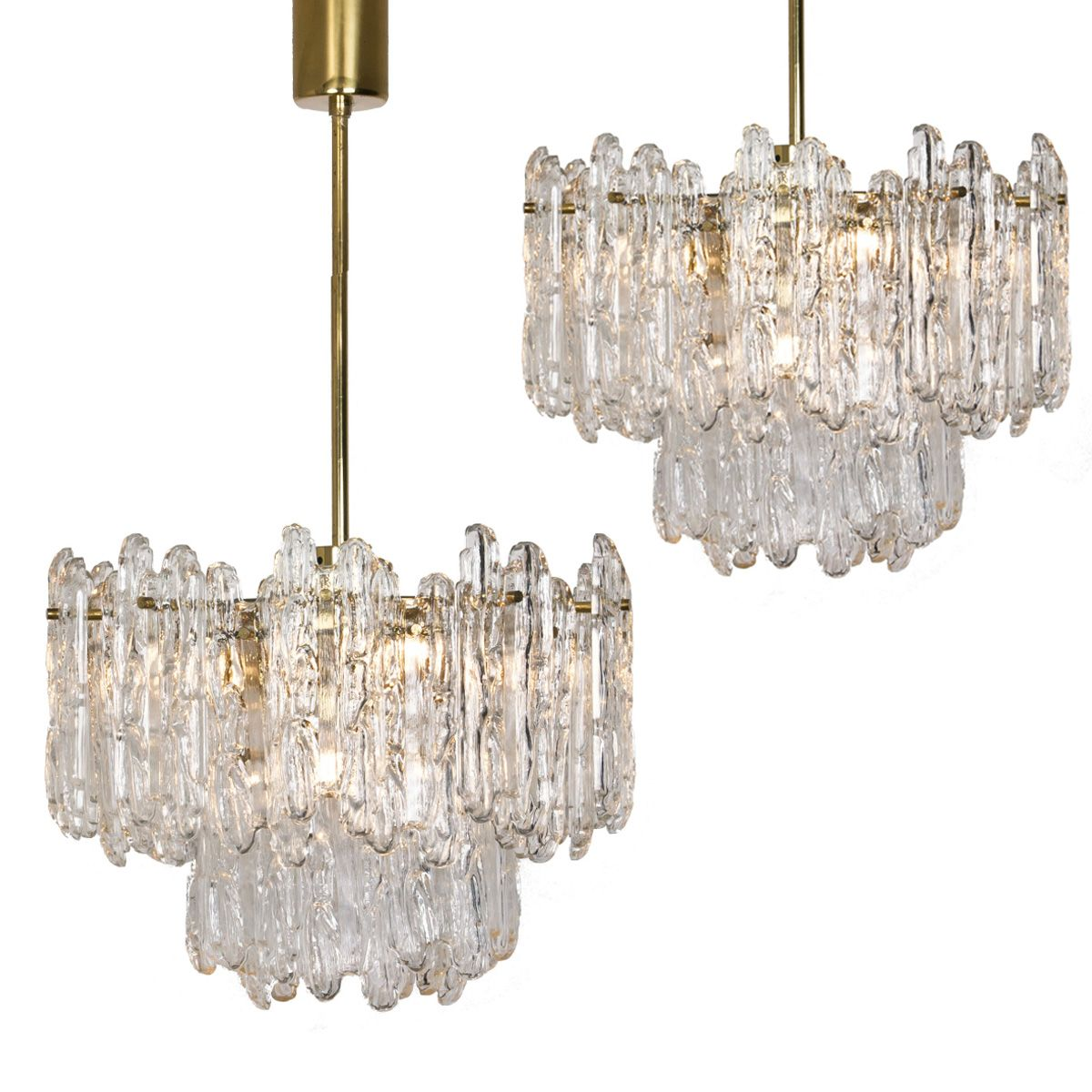Mid Century Ice Glass Chandeliers From Kinkeldey 1970s